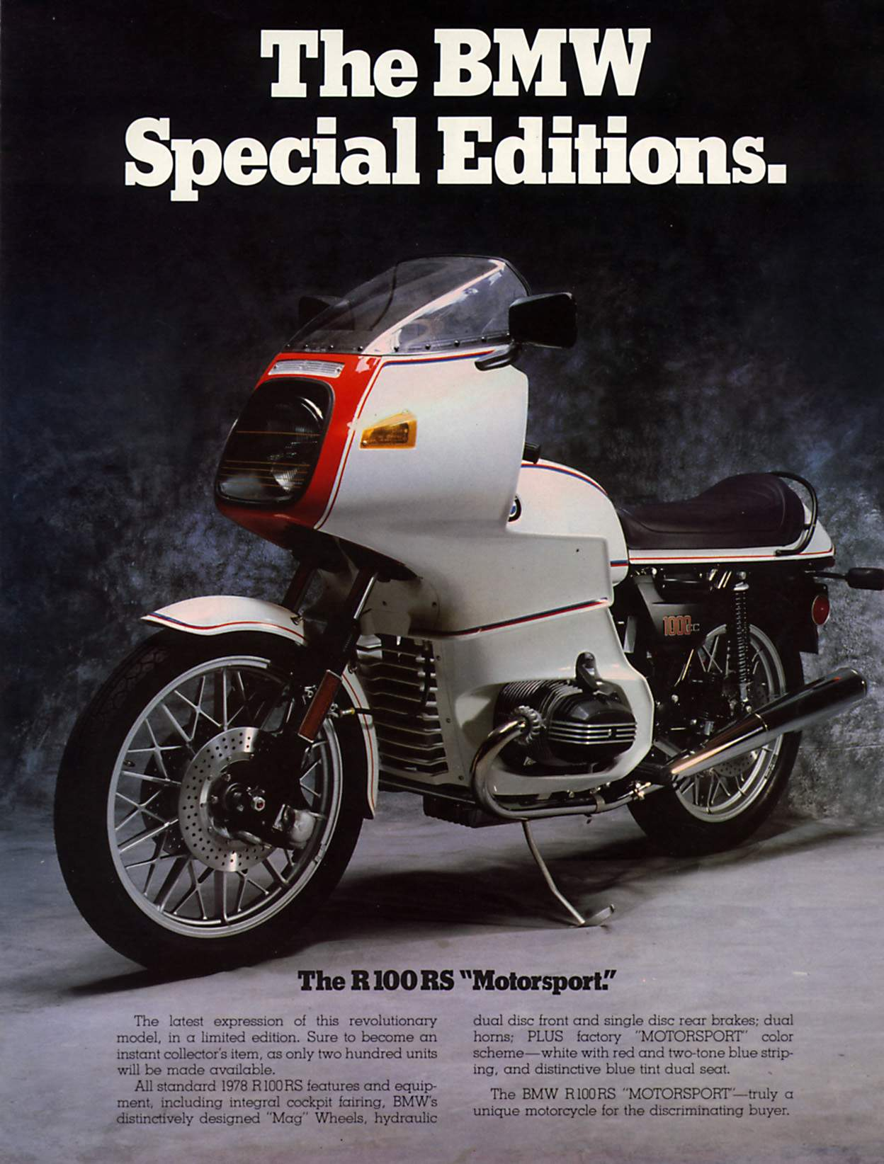 Мотоцикл BMW R 100RS Motorsport Special Edition 1978