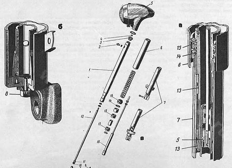 Устройство передней вилки: а — амортизатор; б — буферный амортизатор; в — основные детали передней вилки; 1 — несущая труба; 2 — клапан; 3 — гайка несущей трубы; 4 — гайка штока верхняя; 5 — верхний кожух фары; 6 — верхний кожух; 7 — наконечники перьев; 8 — спускная пробка; 9—гайка; 10 — поршень; 11 — направляющая; 12—шток амортизатора; 13 — втулки буферных амортизаторов; 14 — прокладка; 15—гайка наконечника с силовым направляющим кольцом; 16 — гидравлический амортизатор