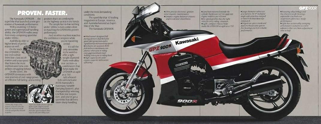 мотоцикл Kawasaki Zx 900 Ninja 1986 описание фото запчасти цена