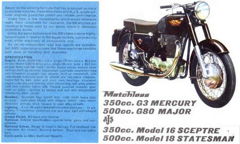 Мотоцикл Matchless G3S Mercury 1962